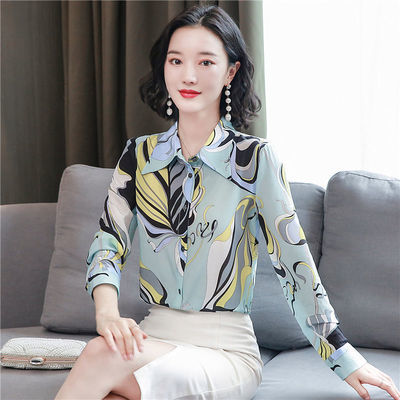 品牌女装2020年秋新款重磅仿真丝缎面印花衬衫高端仿桑蚕丝上衣女