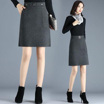 毛呢包臀裙女秋冬新款A字短裙2020年韩版通勤时尚高腰显瘦半身裙