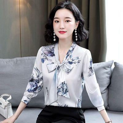 高端仿桑蚕丝上衣女2020年秋新款品牌女装重磅仿真丝缎面长袖衬衫