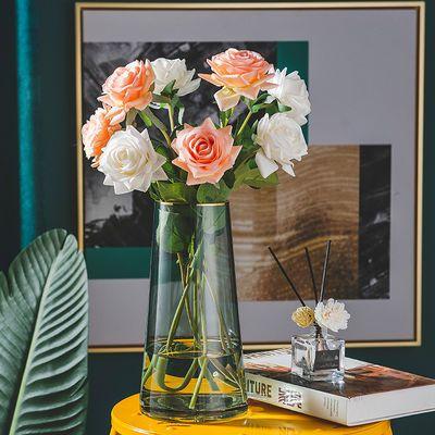 北欧轻奢描金透明玻璃花瓶客厅简约餐桌电视柜摆件干花插花花器