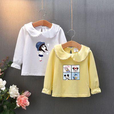 买一送一女童t恤长袖打底衫洋气儿童新款潮上衣宝宝娃娃领春秋装