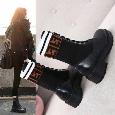 单里ins马丁靴女靴春秋学生韩版短靴英伦风粗跟中筒机车靴单鞋子