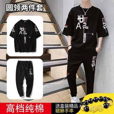 男士短袖套装夏季新款韩版潮流帅气学生休闲宽松运动服一套衣服男
