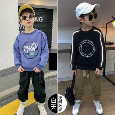 中大童3-16岁男童秋冬款卫衣长袖韩版上衣儿童圆领帅气反光打底衫
