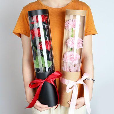 教师节花束单支多支鲜花包装盒玫瑰康乃馨一只单枝花盒单支袋包邮