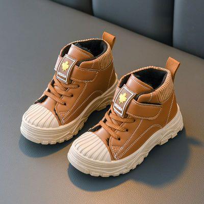 秋冬儿童马丁靴女童靴子 宝宝棉鞋雪地靴 男童短靴皮靴棉靴英伦风