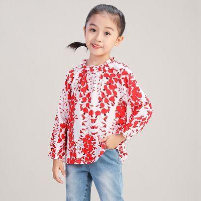布布发现童装女童长袖衬衫秋季新款小女孩洋气娃娃衫打底上衣
