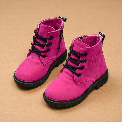 儿童马丁靴秋冬女童靴子 宝宝棉鞋雪地靴 男童短靴皮靴棉靴韩版潮