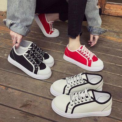 小白鞋女春季帆布鞋2020新款百搭韩版学生休闲板鞋秋季平底单鞋女