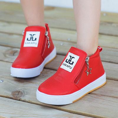 秋冬童鞋女童靴子儿童雪地靴 宝宝棉鞋时装靴 男童短靴皮单靴防水