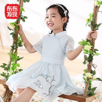 布布发现童装夏装新款女童刺绣花网旗袍裙连衣裙中大童裙子