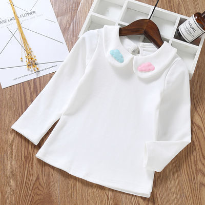 女童打底衫春秋季儿童翻领长袖t恤韩版3女宝宝娃娃领上衣白色衬衫