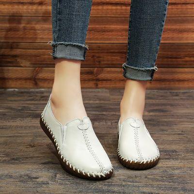 真皮女鞋秋季平底休闲单鞋孕妇防滑软底妈妈头层牛皮鞋子一脚蹬女