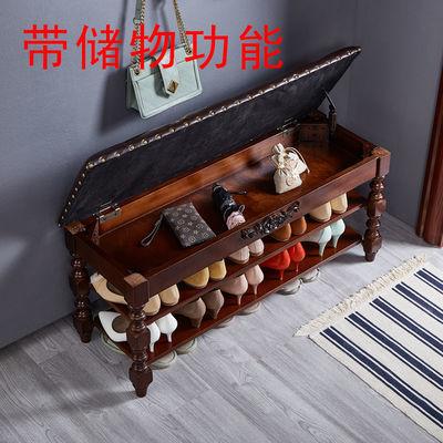 美式实木换鞋凳穿鞋凳简约鞋架欧式家用鞋柜玄关多功能收纳储物凳