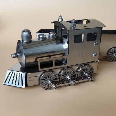 蒸汽火车头旅行者号不锈钢模型第一列布鲁克1:24轨道火车金属玩具