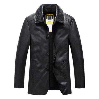 秋冬季中长款男士皮衣外套中年休闲翻领皮夹克加绒加厚保暖爸爸装