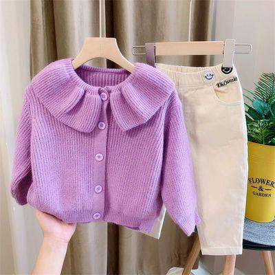 女童秋装套装毛衣外套2020春秋新款洋气女宝宝针织开衫网红两件套