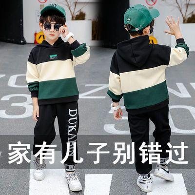 男童秋季套装潮新款洋气儿童韩版帅气运动两件套冬季加绒加厚保暖