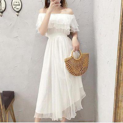 88350/4种穿法2层长款雪纺连衣裙女白色仙女收腰显瘦裙子洋气2020夏季潮