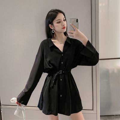 秋款大码女装2020新款女装新款洋气长袖设计感小众衬衫连衣裙法式