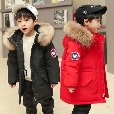 宝宝儿童羽绒服男外套新款男童小童韩版洋气白鸭绒加厚中长款童装