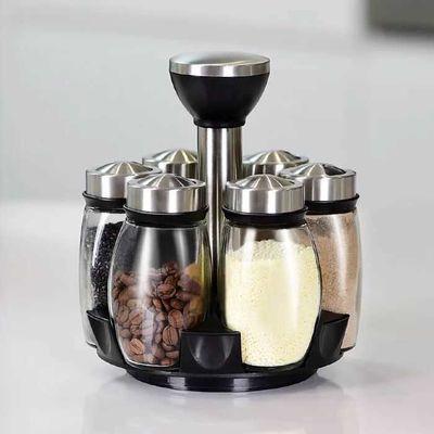调料盒套装调味罐厨房家用创意旋转调味瓶佐料盒玻璃调料瓶罐
