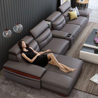 卡尔适真皮沙发现代简约头层牛皮沙发大户型客厅整装组合实木家具