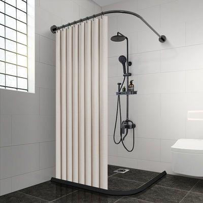 20189/浴室浴帘防水防霉套装免打孔弧形杆磁性挡水条卫生间隔断帘子挂帘
