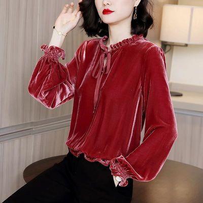 红色丝绒衬衫女2020秋装新款设计感小众法式复古韩版宽松上衣长袖