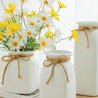 南十字星 简约麻绳白色陶瓷花瓶 客厅干花插花花器餐桌摆件 小满