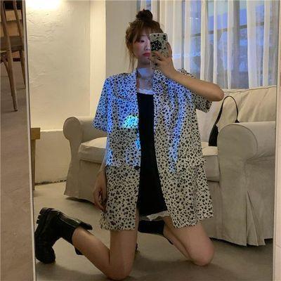 2020新款薄款垂感雪纺豹纹小西装外套女夏季网红宽松韩版短袖西服
