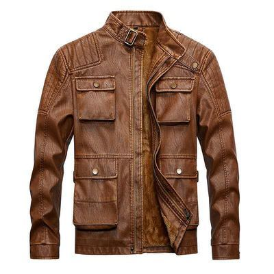 leather jacket winter men coat皮衣男海宁皮夹克外套潮流韩版新