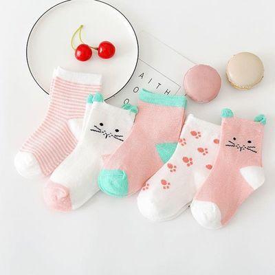 5双春秋款儿童袜子可爱耳朵宝宝袜全棉中筒袜初生婴儿袜工厂直销
