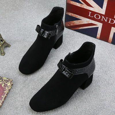 品质短靴2020秋冬新款女单鞋方头复古蝴蝶结英伦风高跟粗跟裸靴潮