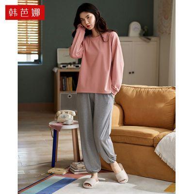 纯棉睡衣女长袖春秋冬季韩版纯色长裤家居服套装可爱卡通纯色休闲