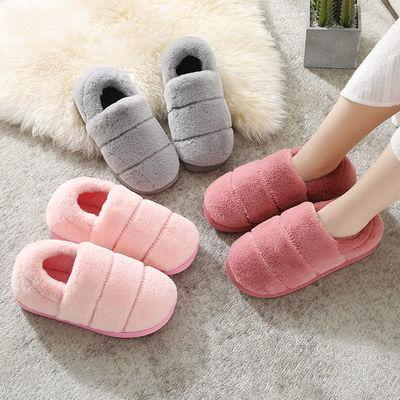 情侣棉拖鞋女包跟居家居防滑厚底室内地板毛拖鞋冬天男保暖月子鞋