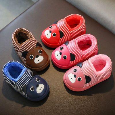 儿童PU皮面棉拖鞋冬可爱卡通防水男女童宝宝防滑居家室外包跟棉鞋
