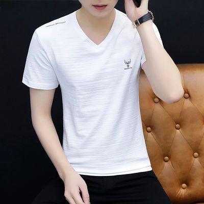 【竹节棉质量款】夏季男士短袖t恤半袖修身V领体恤衫男装百搭衣服