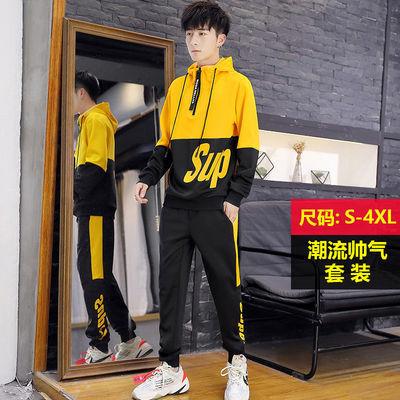 卫衣套装男生春秋季青少年学生韩版潮流帅气精神小伙男装运动衣服