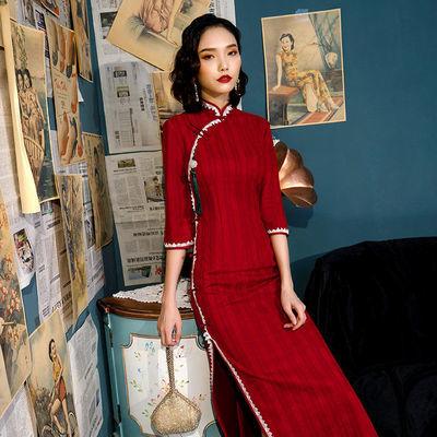 2020秋冬装麂皮绒修身改良版旗袍新款七分袖长款中国风女装连衣裙