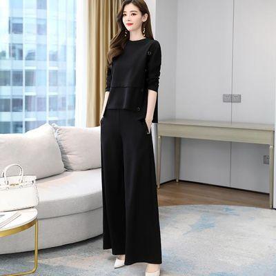 单/大码秋季减龄显瘦套装2020年新款时髦两件套洋气气质阔腿裤女