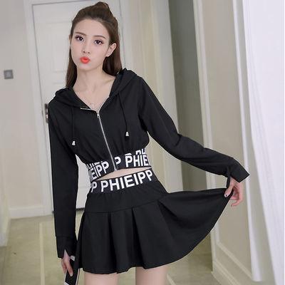 韩版秋季新款连帽长袖字母卫衣外套+高腰A字短裤裙时尚两件套装女