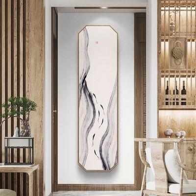 水生香  新中式长条玄关装饰画日式原木风挂画古风水墨过道竖壁画