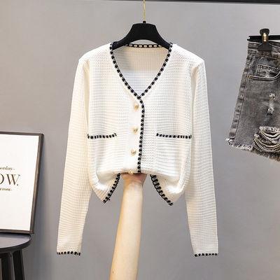 针织衫早秋上衣女外搭开衫薄款小香风冰丝白色短款毛衣女长袖外套