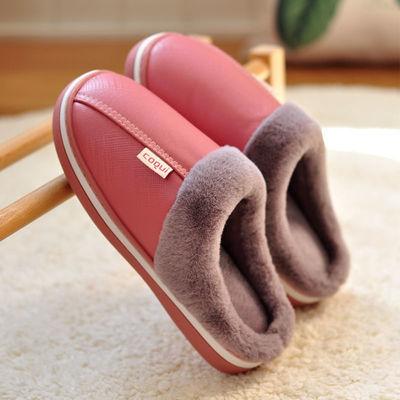 酷趣秋冬季防水棉拖鞋家用女室内防滑软底居家厚底保暖皮面托鞋男
