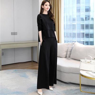 秋季减龄显瘦套装2020年新款女初秋时髦两件套时尚洋气气质阔腿裤