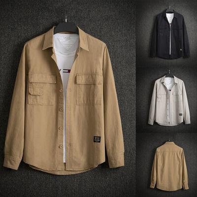 男士秋季美式休闲大码工装外套男装衣服纯色帅气纯棉衬衫领夹克潮