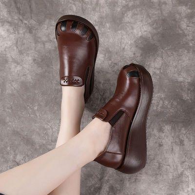 博芙妮真皮松糕复古单鞋女2020秋季新款厚低坡跟民族风休闲女皮鞋