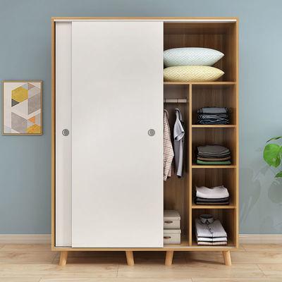 衣柜实木质简易推拉移门板式柜子现代简约经济型北欧衣橱出租房用