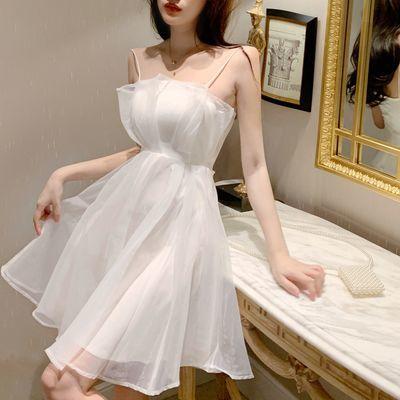 吊带连衣裙女2020年新款小个子裙子仙女韩版甜美气质欧根纱短裙潮